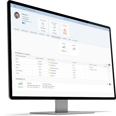 Screenshot of customer data, real-time marketing automation software on a computer screen
