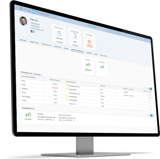 Screenshot of customer data and real-time marketing automation software on a computer screen