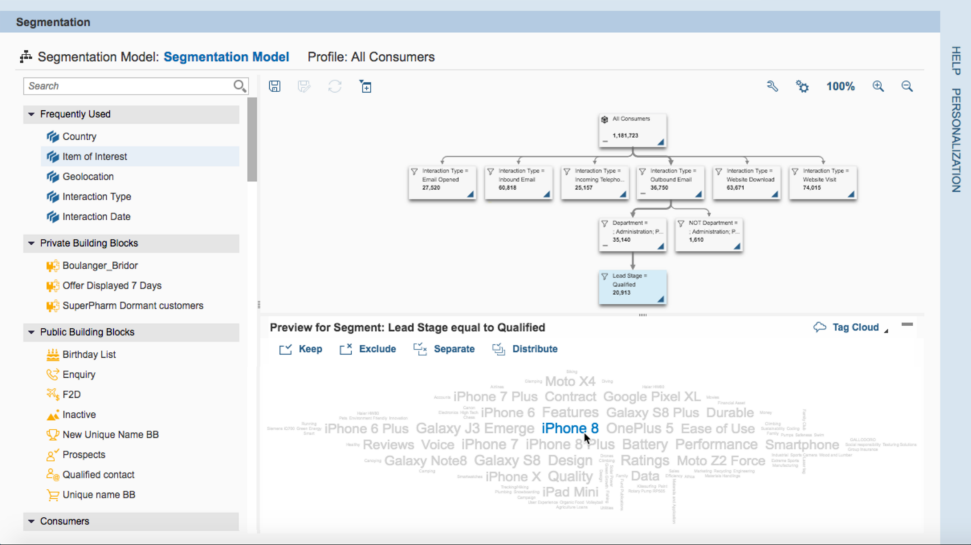 Screenshots of SAP Marketing Cloud highlighting marketing segmentation capabilities