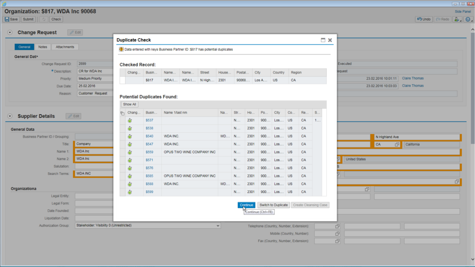 Screenshot of SAP Master Data Governance