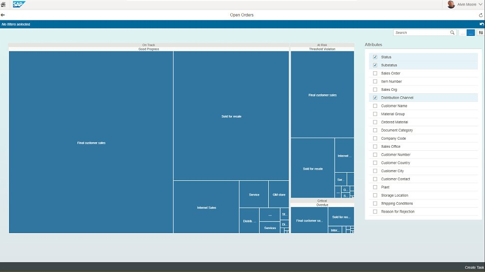 Screenshots of SAP Operational Process Intelligence being used by a company to monitor operational processes