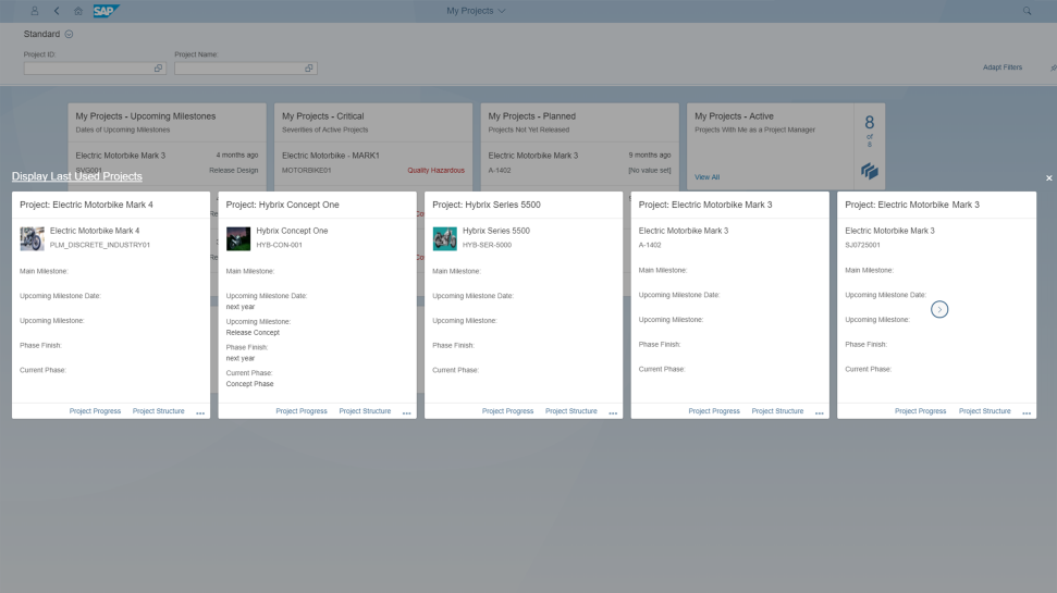 Screenshot of SAP Portfolio and Project Management
