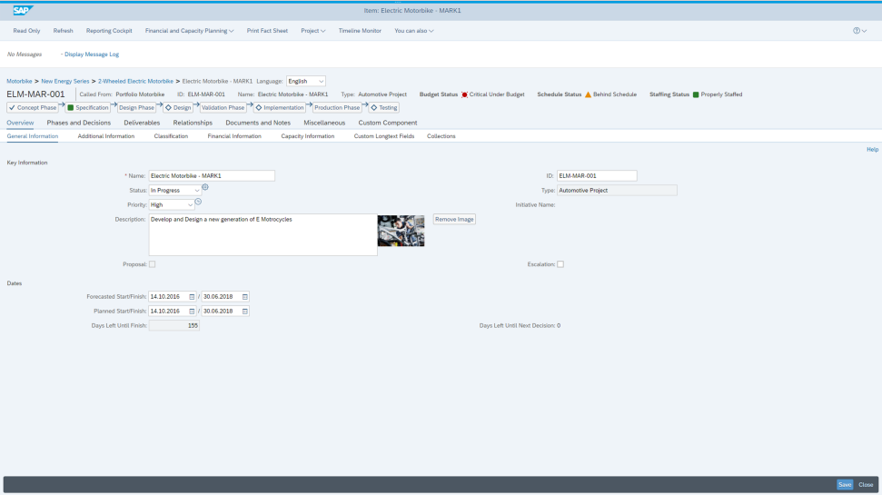 Screenshot of the SAP Portfolio and Project Management