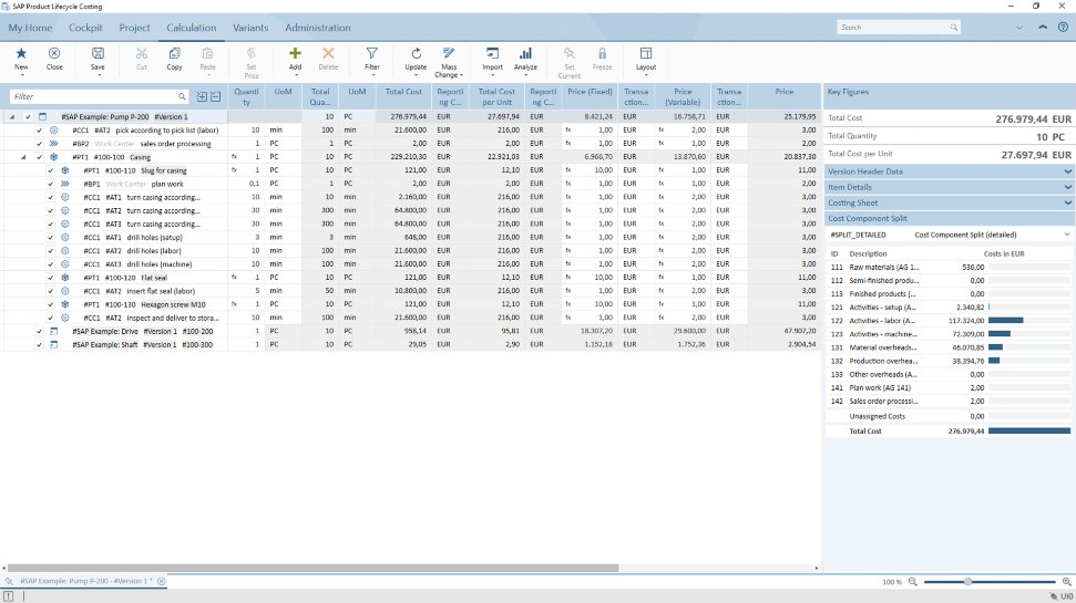 Screenshot of the SAP Product Lifecycle Costing solution in action