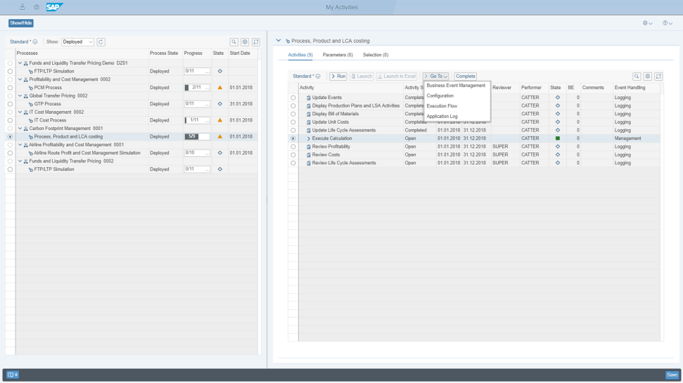 Screenshot of SAP Profitability and Performance Management