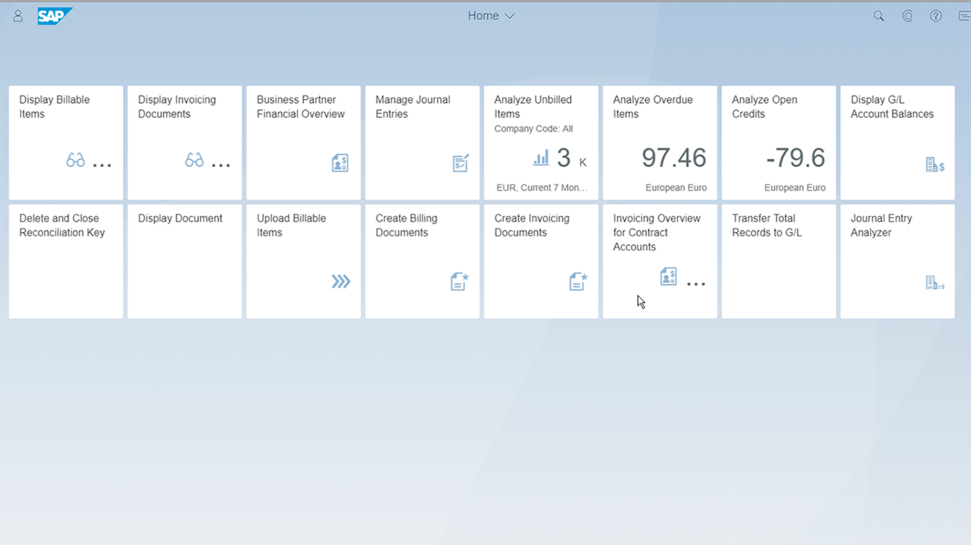 Screenshots of SAP S/4HANA Cloud solution for contract accounting and invoicing used to improve invoice and subscription management