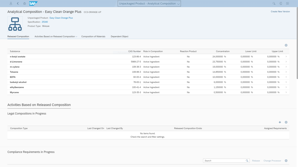 Screenshots of SAP S/4HANA Product Compliance software