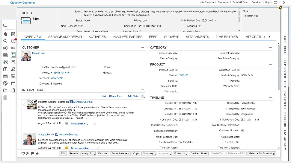 Screenshot of the SAP Service Cloud portfolio in action