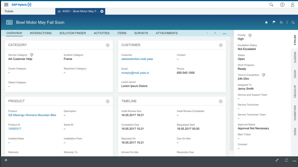 Screenshots of SAP Service Ticket Intelligence software
