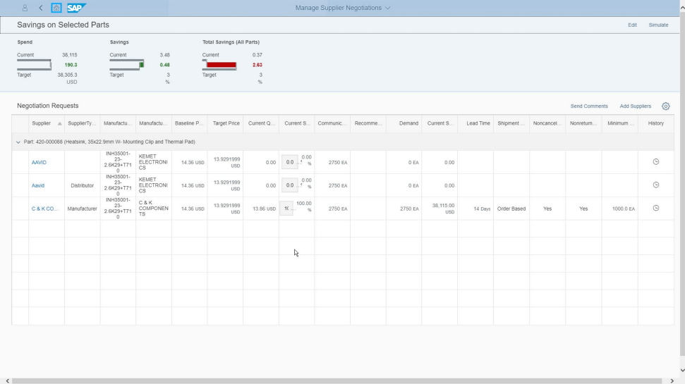 Screenshot of SAP Sourcing Simulation and Optimization for Industries being used by a company to support sourcing decision-making