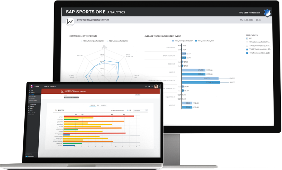 Screenshot of SAP Sports One being used by a sports team to analyze and track players' talent development