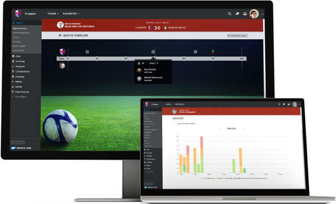 Screenshots of SAP Sports One being used by a sports team to digitalize sports performance management