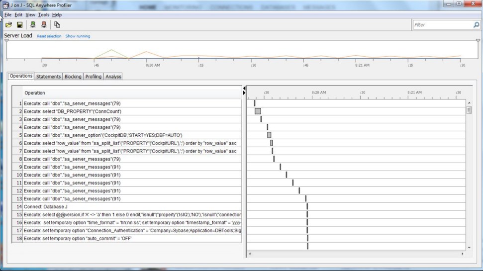 Screenshot of SAP SQL Anywhere  profiler