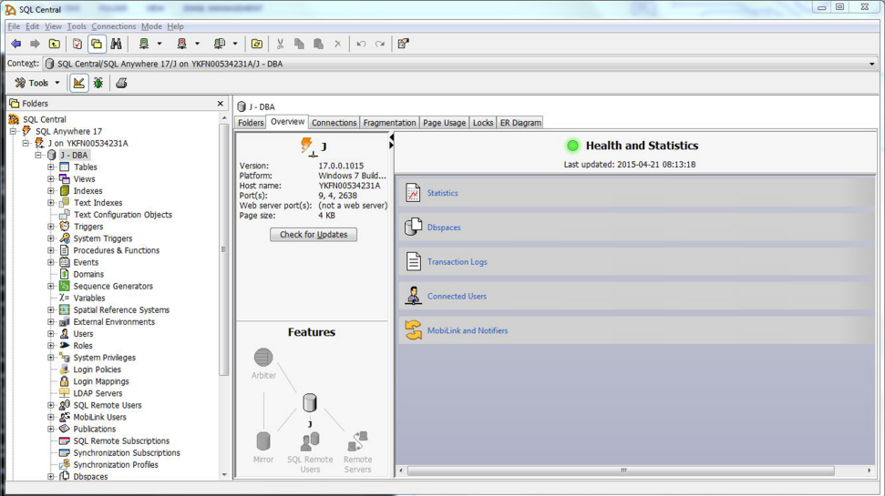 Screenshot of SAP SQL Anywhere application