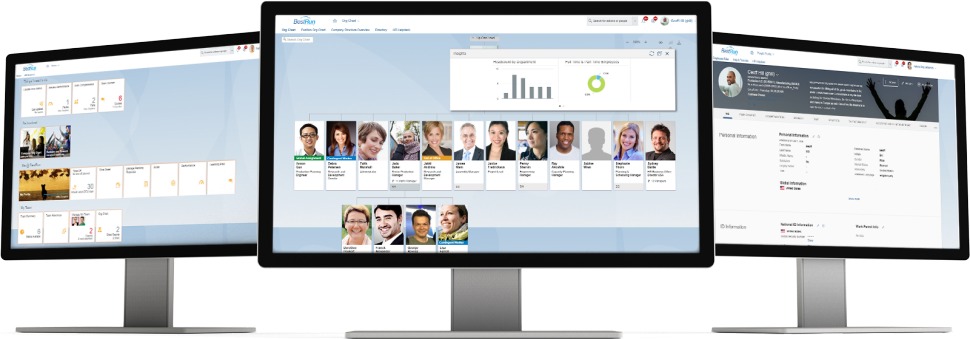 Screenshots of SAP SuccessFactors Employee Central, a cloud-based core HR and payroll system