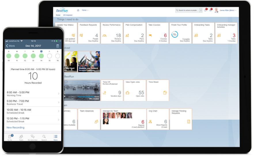 Screenshots of SAP SuccessFactors Employee Central software with time and attendance management capabilities on mobile devices