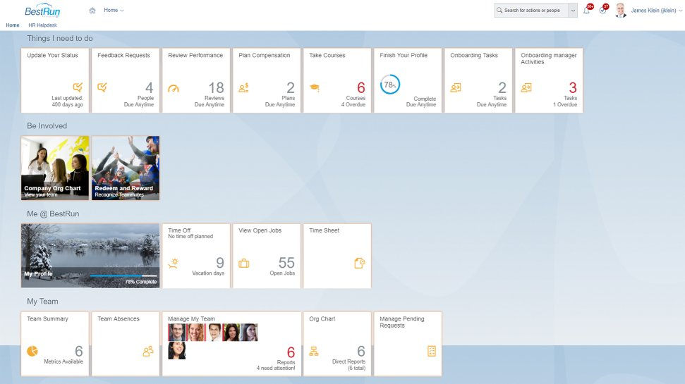 Screenshot of SAP SuccessFactors Employee Central software with time and attendance management capabilities for a tablet