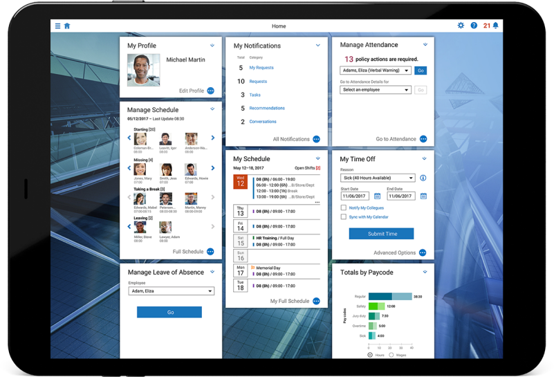 Screenshot of SAP Time Management application for workforce scheduling