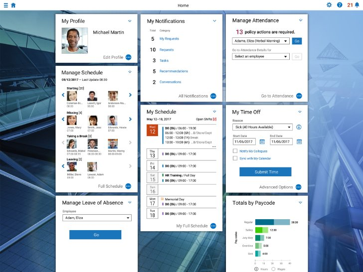 Screenshot of SAP Time Management application featuring workforce scheduling