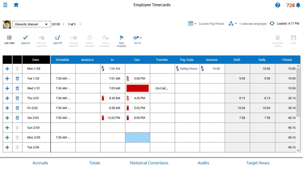 Screenshot of SAP Time Management timecard