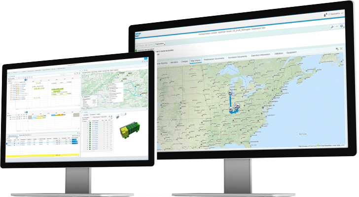 Screenshot of the freight, fleet, and logistics management of the SAP Transportation Management application