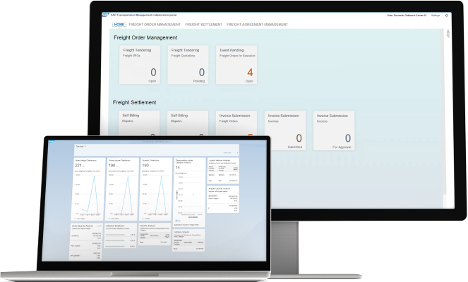 Screenshot of the capabilities of the SAP Transportation Management application