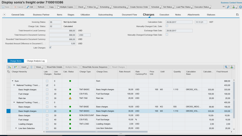 Screenshot of the multimodal transport visibility enabled by the SAP Transportation Management application