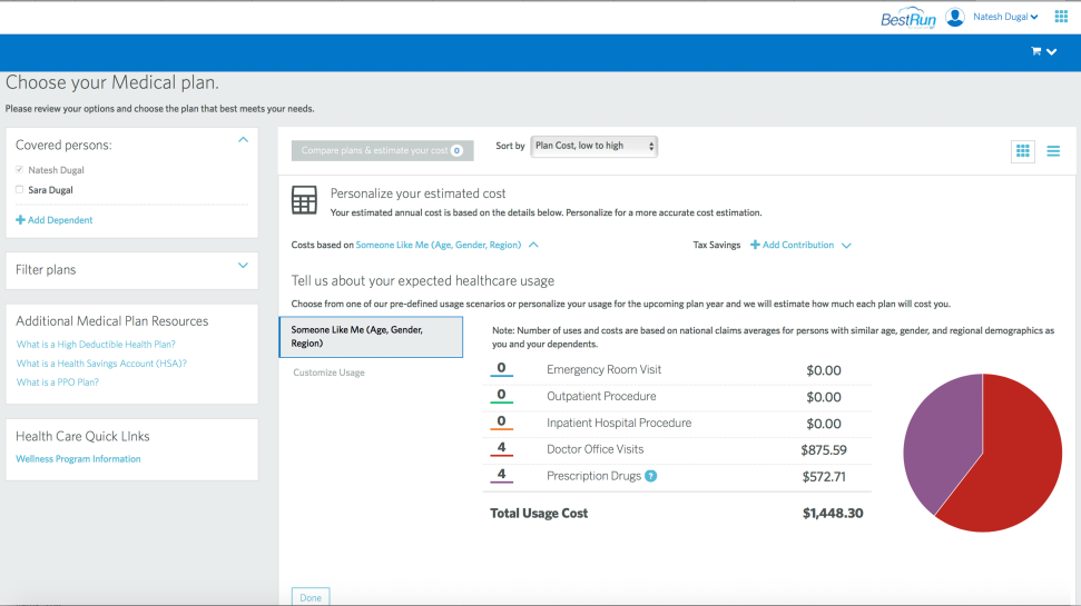 Screenshot of the capabilities of SAP U.S. Benefits Administration software