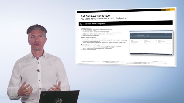 Screenshot from a video in which Yannick Peterschmitt, SAP S/4HANA Product Management & Co-Innovation, introduces the main highlights for the latest release of SAP S/4HANA, 1809