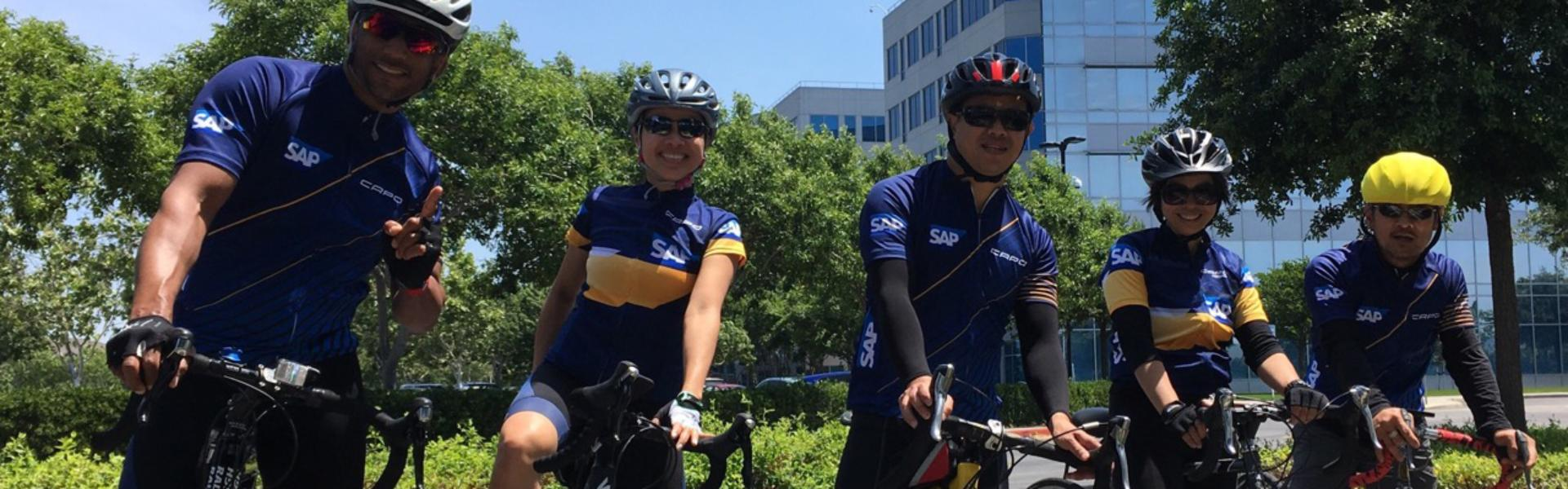 SAP employees on bikes