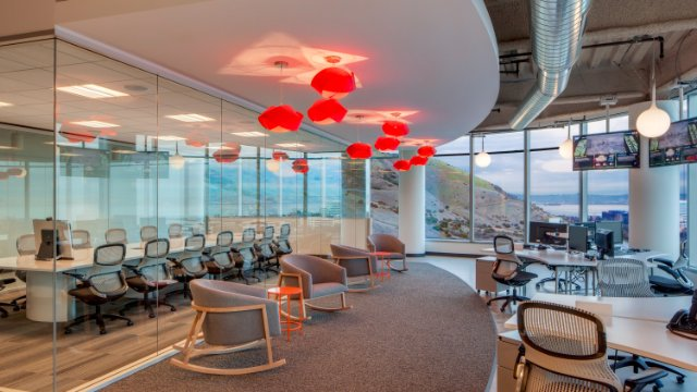Workstations and collaborative areas in our SAP office in South San Francisco