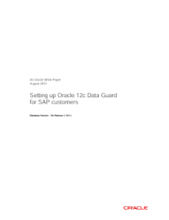 Setting up Oracle 12c Data Guard for SAP Customers
